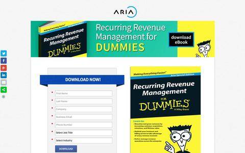 Screenshot of Landing Page ariasystems.com - Recurring Revenue Management for Dummies   Aria Systems - captured March 15, 2016