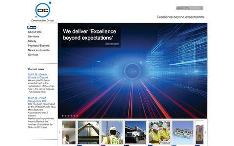 Screenshot of Home Page cicconstruction.com - CIC Construction Group   Excellence beyond expectations - captured Oct. 9, 2015