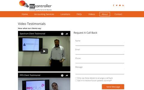 Screenshot of Testimonials Page mycontroller.co.uk - Testimonials - Accountants Windsor, Wokingham, High Wycombe - captured July 13, 2018