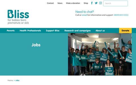 Screenshot of Jobs Page bliss.org.uk - Jobs   Bliss - captured Aug. 2, 2018