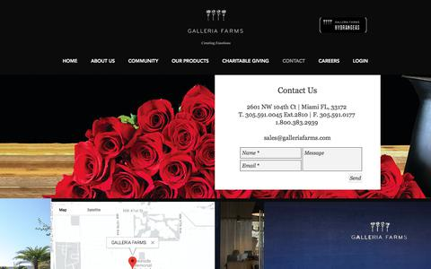 Screenshot of Contact Page galleriafarms.com - CONTACT - captured July 15, 2018