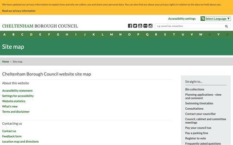 Screenshot of Site Map Page cheltenham.gov.uk - Site map | Cheltenham Borough Council - captured Sept. 27, 2018