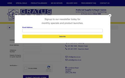 Screenshot of Contact Page gratus.co.za - Contact Us - captured Sept. 5, 2017