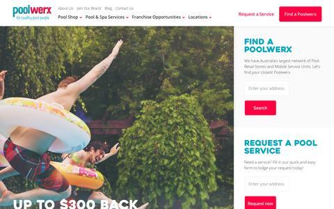 Screenshot of Home Page poolwerx.com.au - Pool Maintenance and Supplies - Poolwerx - captured Sept. 28, 2018