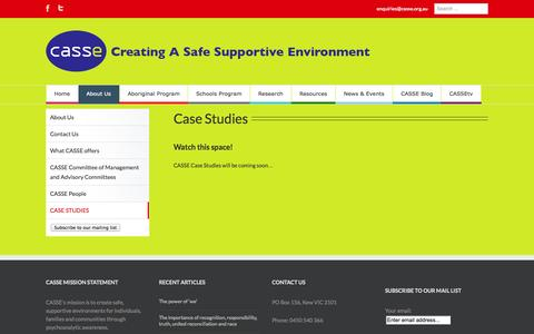 Screenshot of Case Studies Page casse.org.au - CASE STUDIES | Casse - captured Oct. 1, 2014