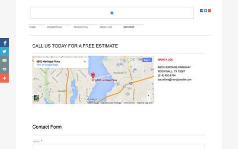 Screenshot of Privacy Page Contact Page handyjoedfw.com - Handy Joe in Rockwall, Tx : Contact - captured Oct. 22, 2014
