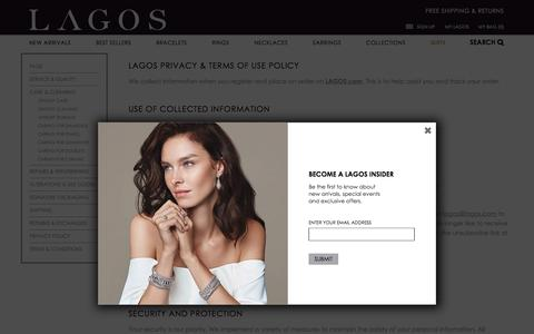 Screenshot of Privacy Page lagos.com - LAGOS Fine Jewelry | Privacy Policy & Terms of Use - captured May 11, 2017