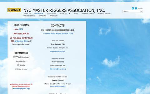 Screenshot of Contact Page nycmra.org - Contact us - captured Oct. 7, 2014