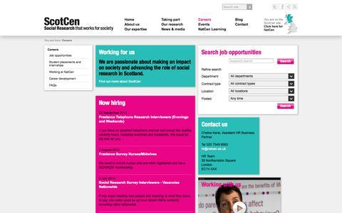 Screenshot of Jobs Page scotcen.org.uk captured Oct. 4, 2014