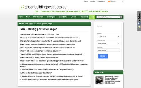 Screenshot of FAQ Page greenbuildingproducts.eu - FAQ – Häufig gestellte Fragen - greenbuildingproducts.eu - captured Oct. 1, 2018