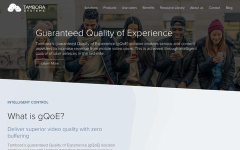 Screenshot of Products Page tamborasystems.com - Guaranteed Quality of Experience - Tambora - captured Dec. 5, 2018