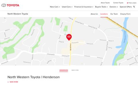 Screenshot of Locations Page toyota.co.nz - North Western Toyota | Henderson - Toyota NZ - captured Oct. 19, 2018