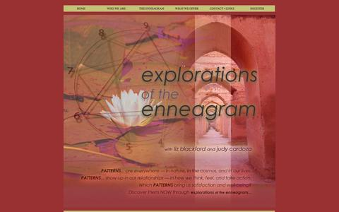 Screenshot of Home Page explorationsofenneagram.com - Enneagram Institute Authorized Workshops | Liz Blackford and Judy Cardoza | Explorations of the Enneagram | Workshops, Courses, and Coaching in Self-Discovery - captured Nov. 16, 2016
