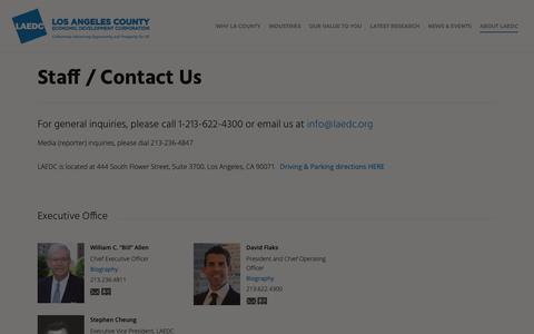 Screenshot of Contact Page laedc.org - Staff / Contact Us - Los Angeles County Economic Development Corporation - captured Feb. 17, 2019