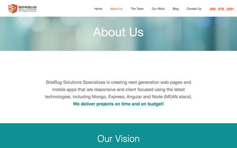 Screenshot of About Page briebugsoftwaresolutions.com - BrieBug Software Solutions | Web & Mobile App Development| AngularJS Denver | HTML5 - captured June 28, 2016