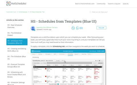 Screenshot of Support Page hotschedules.com - HS - Schedules from Templates (Blue UI) – Customer Care - captured March 8, 2018