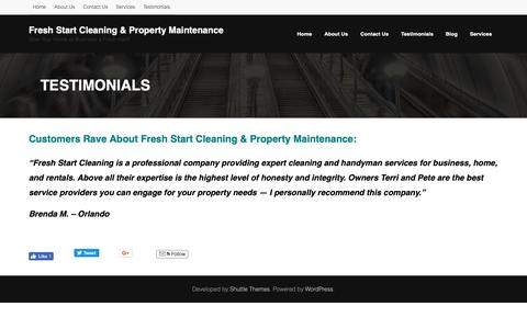 Screenshot of Testimonials Page freshstartnsb.com - Testimonials | Fresh Start Cleaning & Property Maintenance - captured Dec. 19, 2018