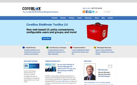 Screenshot of Home Page coreblox.com - CoreBlox: Trusted Identity and Access Management Consulting Experts - captured Sept. 30, 2014