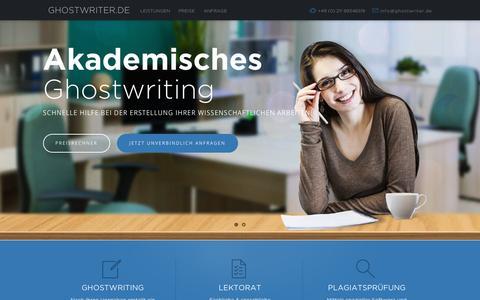 Screenshot of Home Page ghostwriter.de - Ghostwriter gesucht? • GHOSTWRITER.DE - captured Sept. 21, 2015