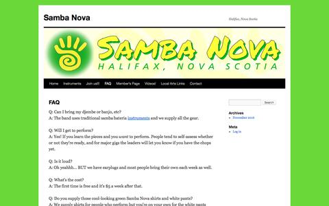 Screenshot of FAQ Page sambanova.org - FAQ | Samba Nova - captured Oct. 5, 2017