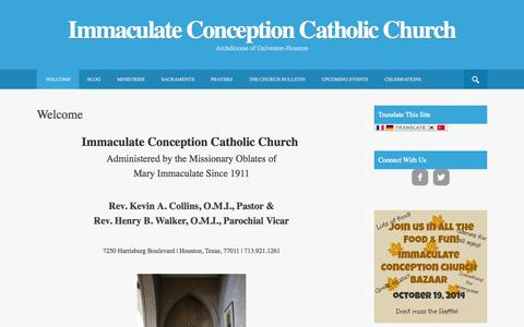 Screenshot of Home Page immaculateconceptionhouston.org - Welcome - Immaculate Conception Catholic Church - captured Sept. 19, 2014