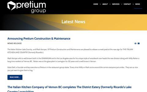 Screenshot of Press Page pretiumgroup.ca - News - captured Feb. 13, 2019