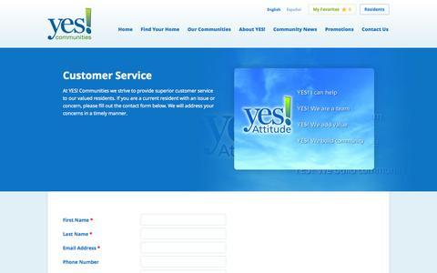 Screenshot of Support Page yescommunities.com - Yes! Communities Customer Service | Yes Communities - captured Sept. 19, 2014