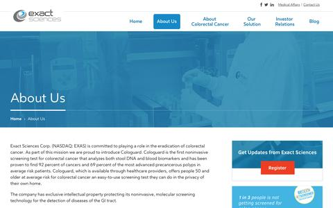 Screenshot of About Page exactsciences.com - About Exact Sciences - captured Oct. 28, 2014