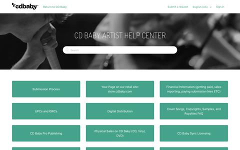 Screenshot of Support Page cdbaby.com - CD Baby Help Center - captured Sept. 21, 2018