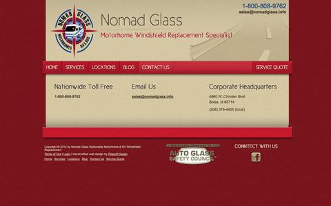 Screenshot of Contact Page nomadglass.com - Contact Nomad Glass - Motorhome Windshield Replacement - captured Oct. 22, 2014