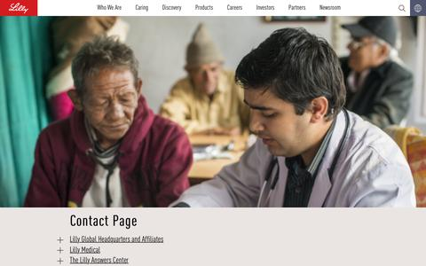 Screenshot of Contact Page lilly.com - Contact Page - captured Nov. 24, 2016