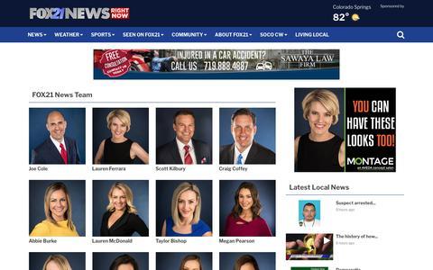 Screenshot of Team Page fox21news.com - Meet the Team - captured Sept. 22, 2018