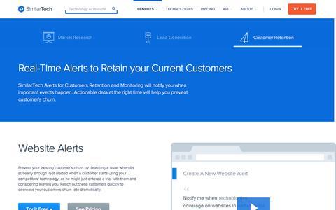 Screenshot of similartech.com - Prevent Customer Retention with SimilarTech - captured March 19, 2016