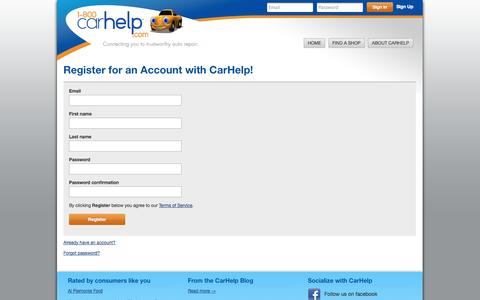 Screenshot of Signup Page carhelp.com - Register for an Account with CarHelp! - captured Sept. 27, 2014