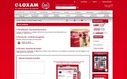 Screenshot of Contact Page loxam.fr - Location de materiel pour batiment, TP, industrie : LOXAM - captured Nov. 10, 2015