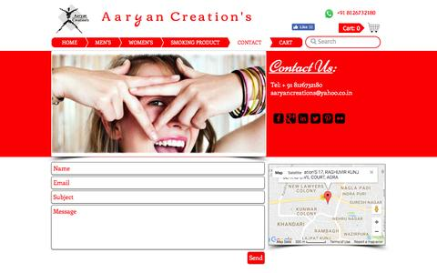 Screenshot of Contact Page aaryancreation.com - Contact Us | Locate Us for Buy Glass Pipe - captured Nov. 20, 2016