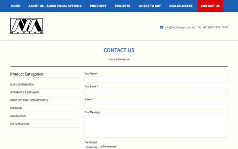 Screenshot of Contact Page axadesign.com.au - Contact AXA Design for your Audio Visual & Building Automation needs in Brisbane - captured May 29, 2017