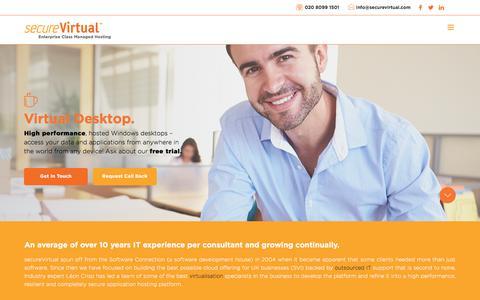 Screenshot of Home Page securevirtual.com - Secure Virtual | Enterprise Class Managed Hosting - captured July 27, 2018