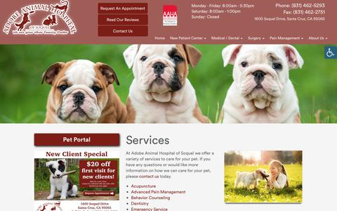 Screenshot of Services Page adobevets.com - » Services | Veterinarian and Animal Hospital in Santa Cruz, CA - captured Oct. 3, 2018