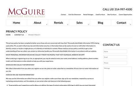 Screenshot of Privacy Page mcguirefurniturerental.com - Privacy Policy  |  McGuire Furniture - captured Oct. 17, 2018
