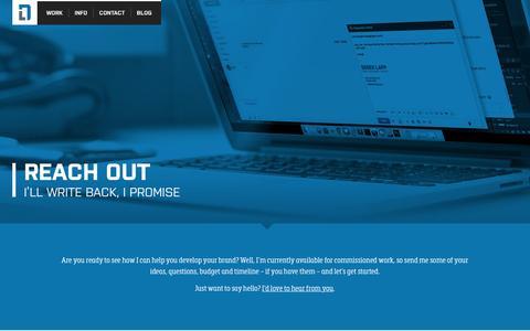 Screenshot of Contact Page vectorthis.com - Reach Out | Design Work of Derek Lapp - captured Jan. 10, 2016