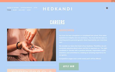 Screenshot of Jobs Page hedkandisalon.com - Careers — Hedkandi Salon - captured Sept. 28, 2018