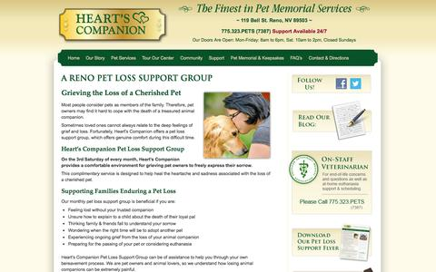 Screenshot of Support Page heartscompanion.com - Pet Loss Support | Lake Tahoe | Reno | NV - captured Sept. 29, 2014