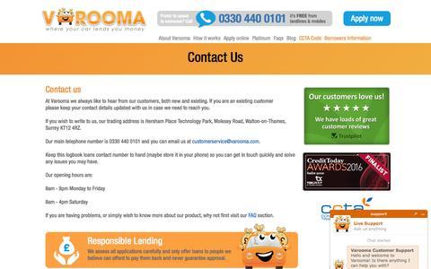 Screenshot of Contact Page varooma.com - Contact us - Varooma - captured July 8, 2016