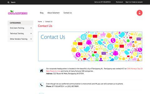 Screenshot of Contact Page solartech.us - Contact Solartech - captured Dec. 12, 2016