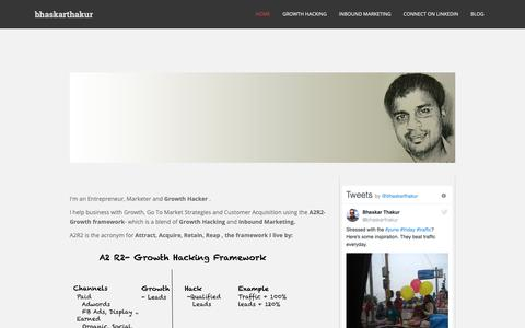 Screenshot of Home Page bhaskarthakur.com - Bhaskar Thakur | Startups, Growth Hacking and Entrepreneurship - captured Oct. 7, 2018