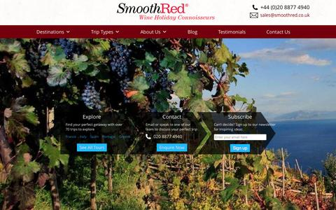 Screenshot of smoothred.co.uk - SmoothRed - Wine Tasting Holidays, Tours and Weekends - captured June 21, 2015