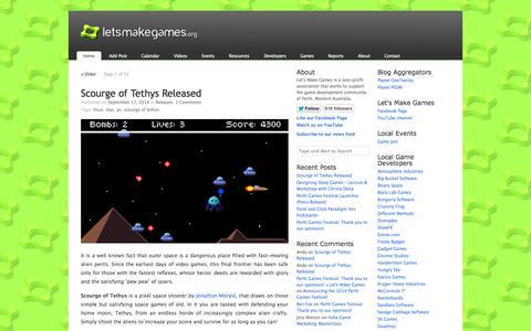 Screenshot of Home Page letsmakegames.org - Let's Make Games - captured Sept. 19, 2014
