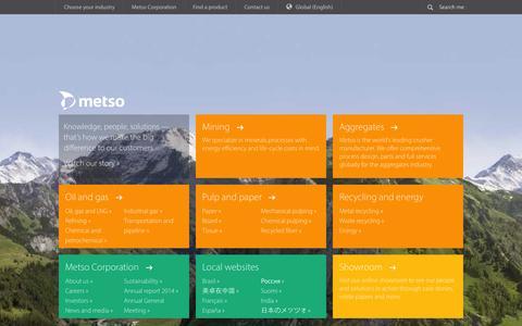 Screenshot of Home Page metso.com - Metso - Metso - captured Oct. 1, 2015