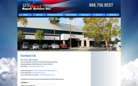 Screenshot of Contact Page usbestrepairs.com - US Best Repair Service, Inc. | Contact Us | Nationwide Property Preservation & Property Maintenance, REO - captured Feb. 2, 2016